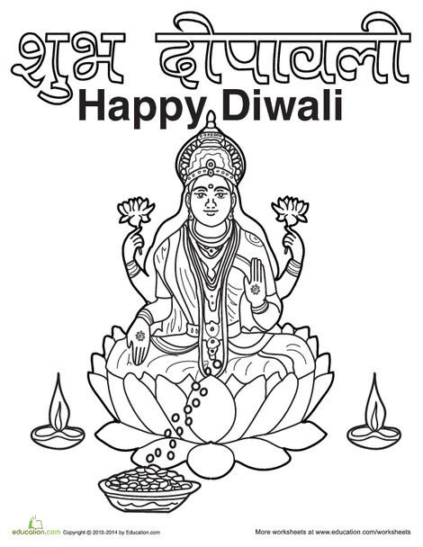 First Grade Social studies Worksheets: Diwali Coloring Page