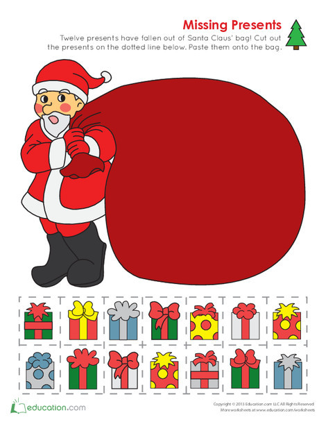 Kindergarten Math Worksheets: Counting Christmas Presents