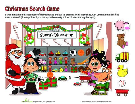 Kindergarten Holidays Worksheets: Santa's Workshop