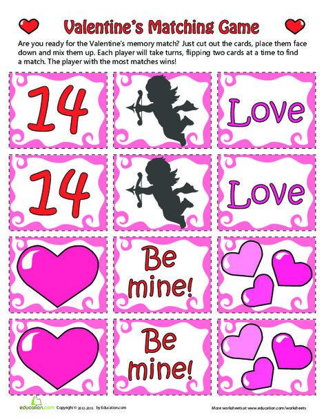 Kindergarten Holidays Worksheets: Valentine Game
