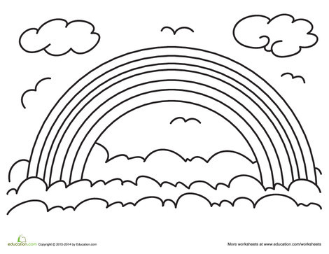 Preschool Coloring Worksheets: Rainbow Coloring Page