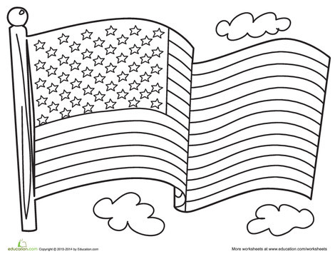 Preschool Coloring Worksheets: American Flag Coloring Page