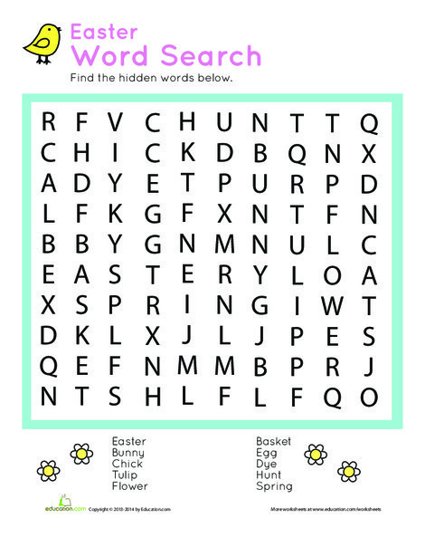 First Grade Offline games Worksheets: Easter Word Search Puzzle
