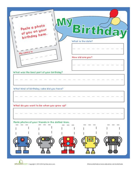 Kindergarten Holidays Worksheets: Birthday Interview Questions
