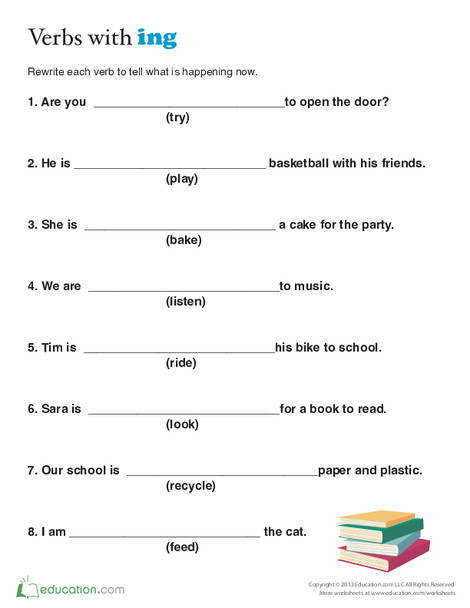 Second Grade Reading & Writing Worksheets: Present Tense for Kids