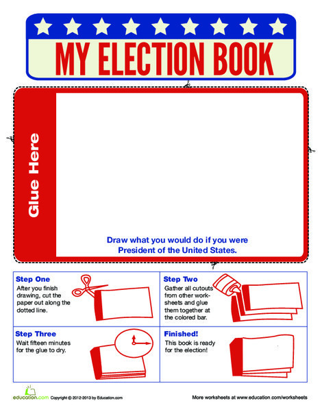 Second Grade Social studies Worksheets: Make Your Own Election Book