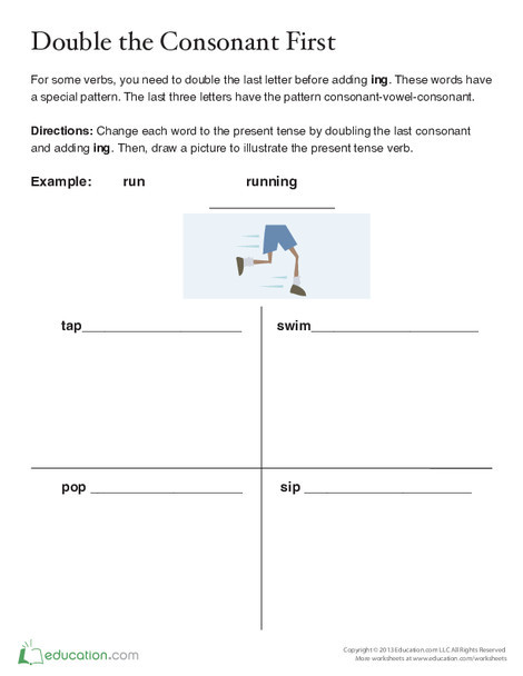 Second Grade Reading & Writing Worksheets: Spelling Verbs in Present Tense