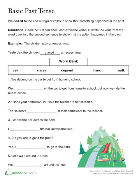 Second Grade Reading & Writing Worksheets: Past Tense -ed