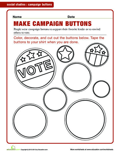 Second Grade Social studies Worksheets: Campaign Buttons