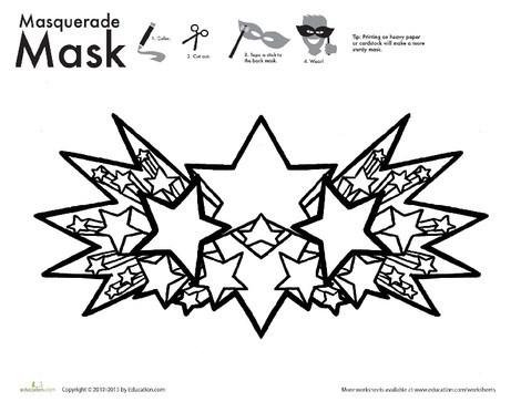 First Grade Arts & crafts Worksheets: Star Mask Coloring