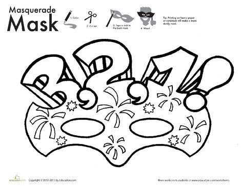 First Grade Arts & crafts Worksheets: New Year Countdown Mask Coloring