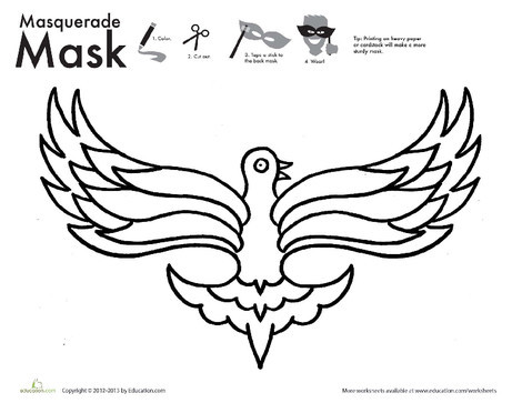 First Grade Arts & crafts Worksheets: Bird Mask Coloring