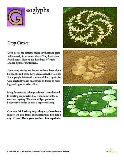 Fourth Grade Reading & Writing Worksheets: Crop Circles