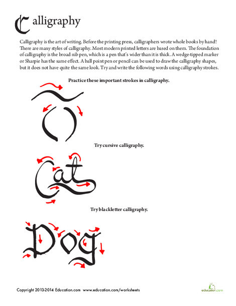 Fourth Grade Fine arts Worksheets: Calligraphy Writing