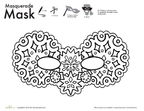 First Grade Holidays Worksheets: Snow Mask Coloring