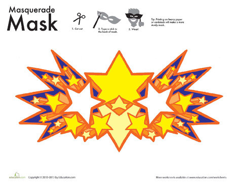 First Grade Holidays Worksheets: Star Mask