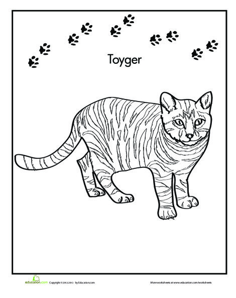 First Grade Coloring Worksheets: Toyger Coloring Page