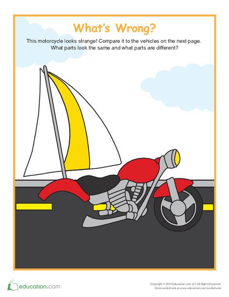 Kindergarten Math Worksheets: Fix the Motorcycle
