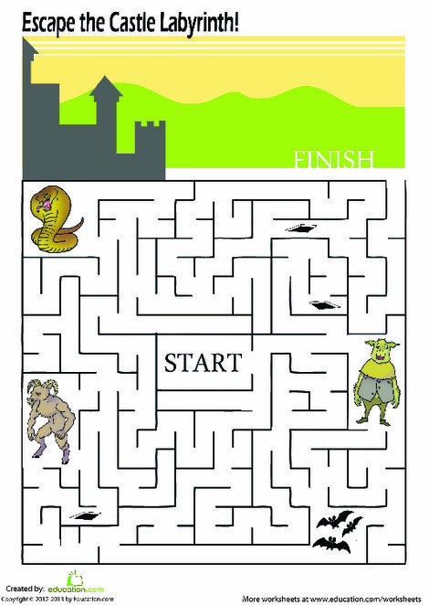First Grade Offline games Worksheets: Labyrinth Maze