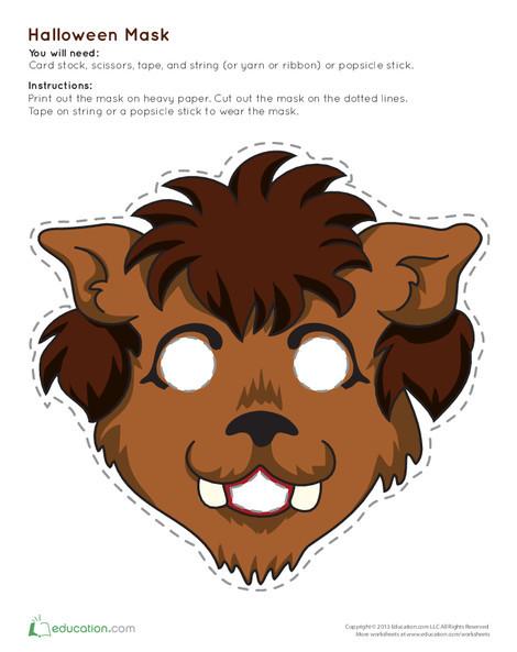 Second Grade Holidays Worksheets: Werewolf Mask