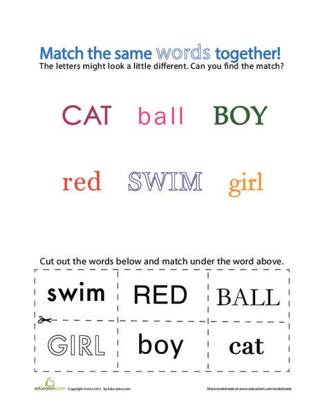 Kindergarten Reading & Writing Worksheets: Matching Uppercase and Lowercase Letters