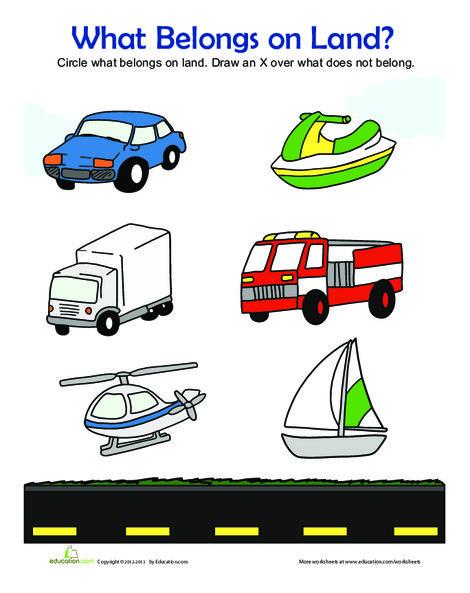 Kindergarten Math Worksheets: Land Vehicles