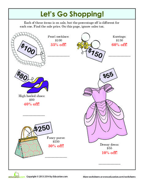 Fifth Grade Math Worksheets: Let's Go Shopping!