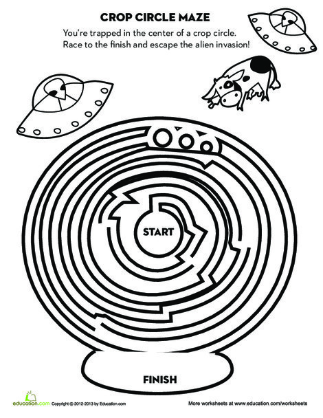 Fourth Grade Offline games Worksheets: Crop Circle Maze