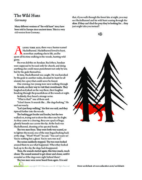 Third Grade Reading & Writing Worksheets: The Wild Hunt