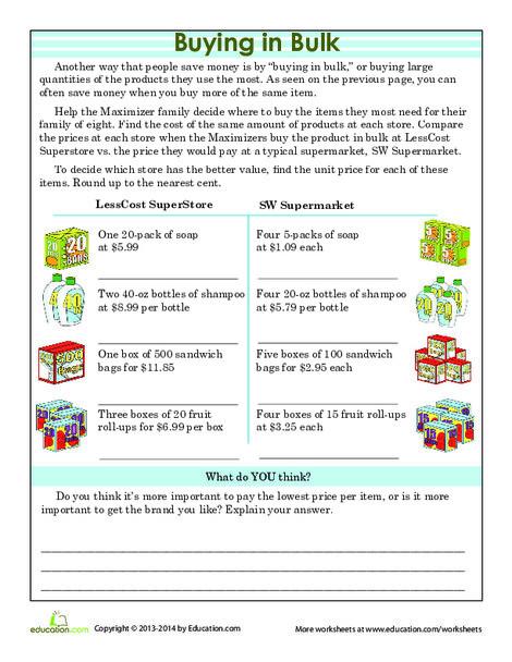 Fifth Grade Math Worksheets: Buying in Bulk