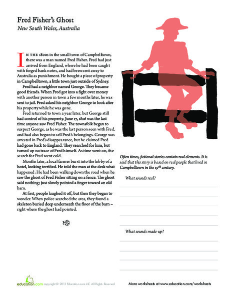 Third Grade Reading & Writing Worksheets: The Ghost of Fred Fisher