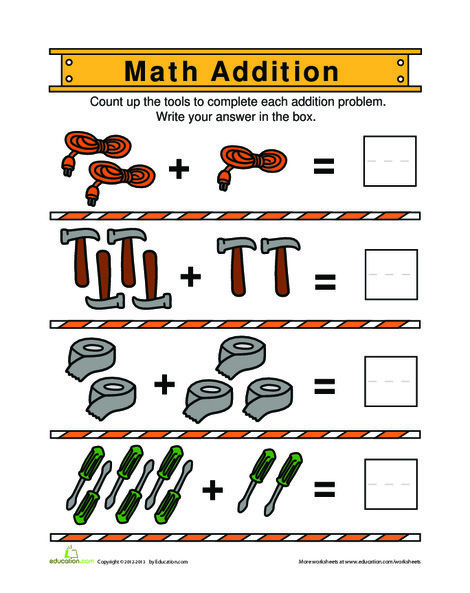 Kindergarten Math Worksheets: Building Addition