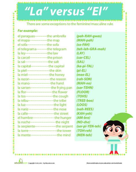 """Fourth Grade Foreign language Worksheets: """"La"""" or """"El"""""""