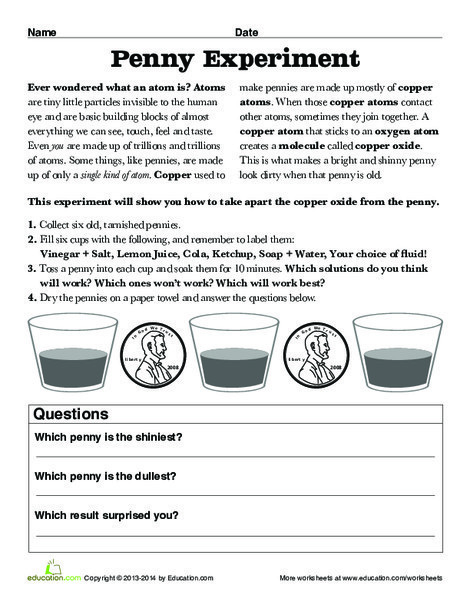 Third Grade Science Worksheets: How to Clean Copper Pennies