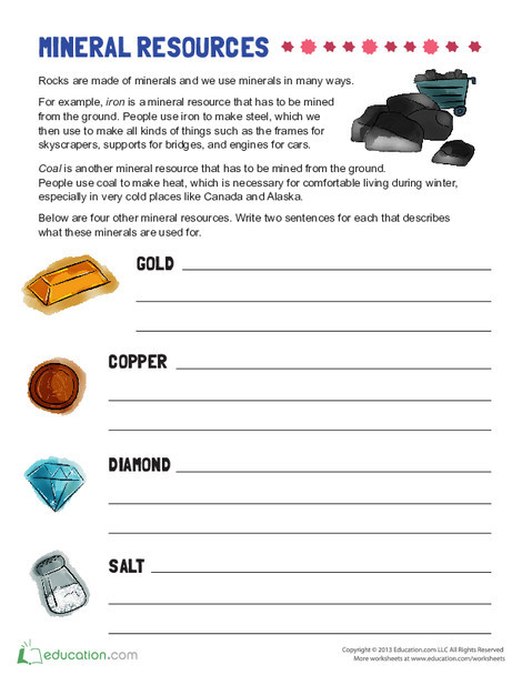 Second Grade Reading & Writing Worksheets: Example of Mineral Resources