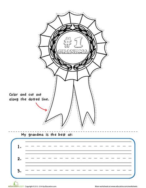 Kindergarten Arts & crafts Worksheets: Grandparents Day Gift: Make an Award!