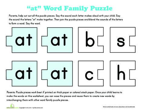 "Preschool Reading & Writing Worksheets: ""at"" Words"