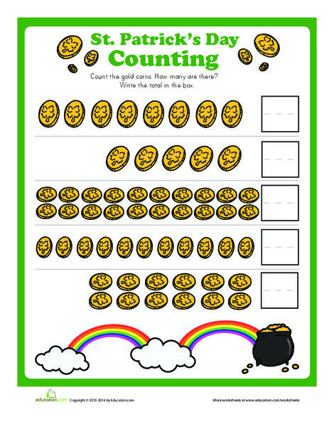 Kindergarten Math Worksheets: Count the Gold Coins