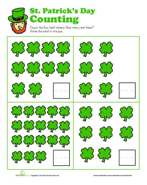 Kindergarten Math Worksheets: Shamrock Counting