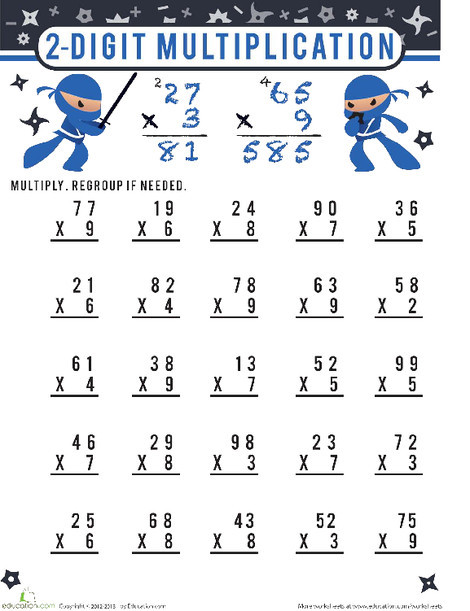 Third Grade Math Worksheets: 2 Digit Multiplication