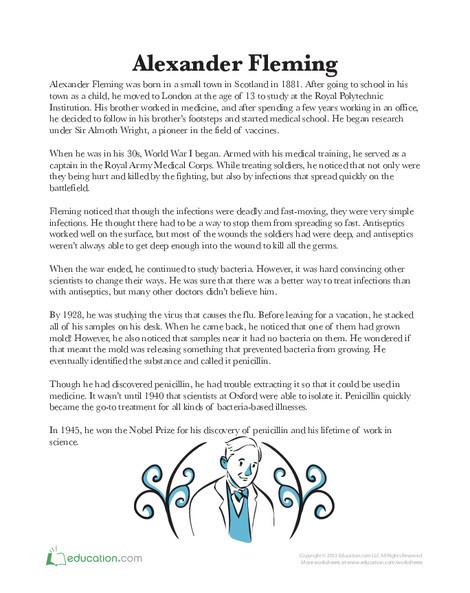 Third Grade Science Worksheets: Alexander Fleming