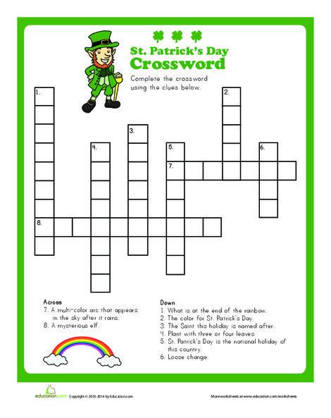 Second Grade Holidays Worksheets: St. Patrick's Crossword