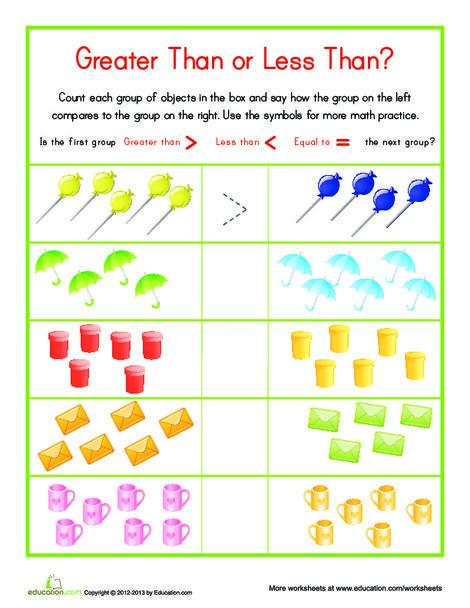 Kindergarten Math Worksheets: Less Than/Greater Than