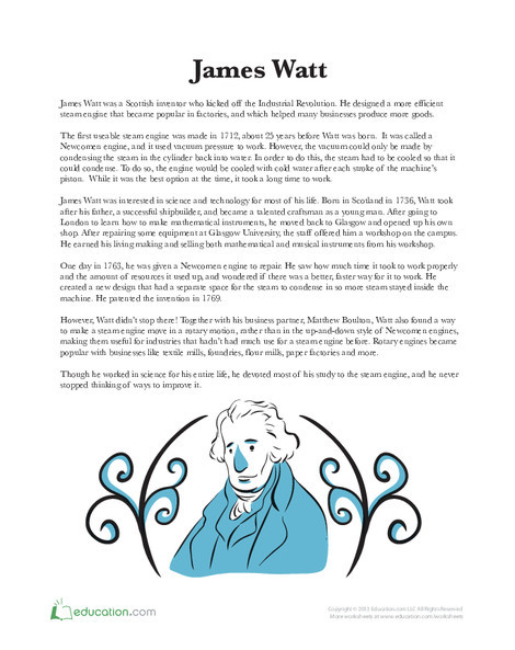 Third Grade Social studies Worksheets: James Watt