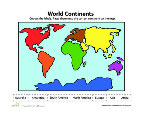 First Grade Reading & Writing Worksheets: Label the Continents