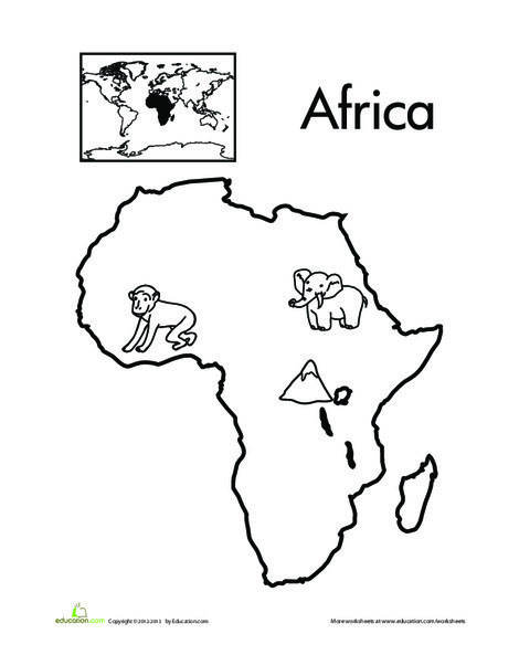 Kindergarten Coloring Worksheets: Color the Continents: Africa