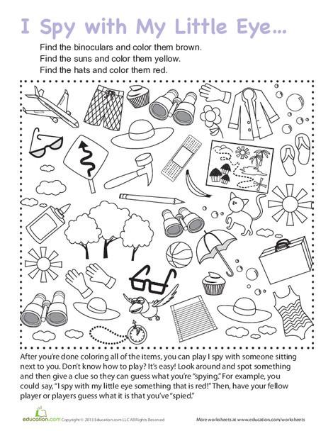 Kindergarten Offline games Worksheets: I Spy Travel Game