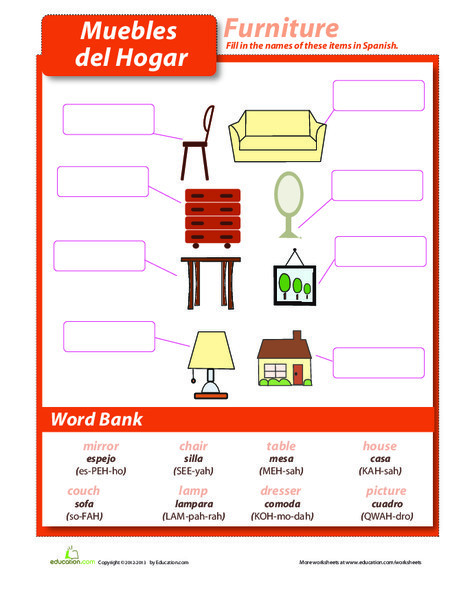 Fourth Grade Foreign language Worksheets: Furniture in Spanish