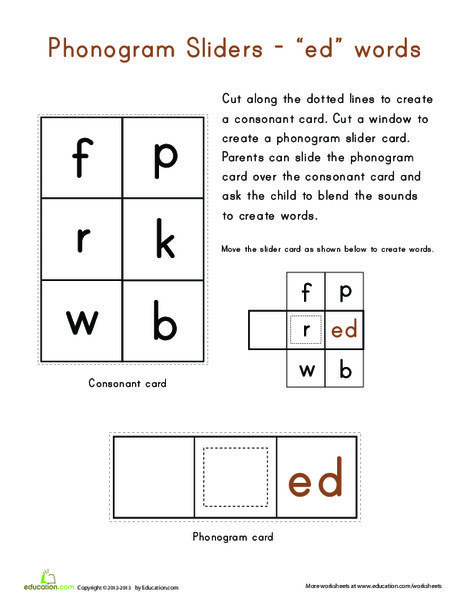 "Kindergarten Reading & Writing Worksheets: ""ed"" Word Family"