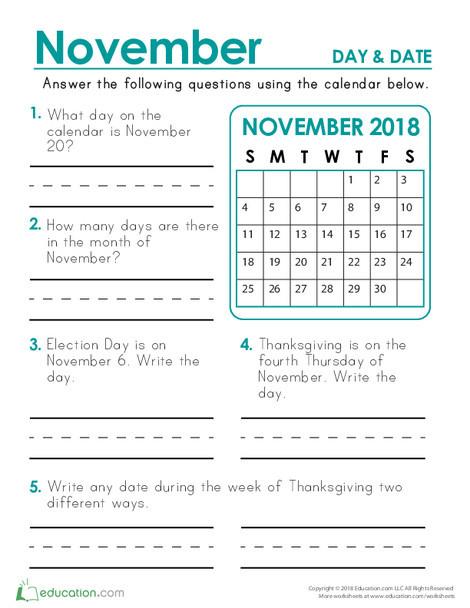 Second Grade Math Worksheets: November 2018 Calendar: Days and Dates